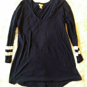 J Crew Navy Blue Striped Long Sleeve Tee
